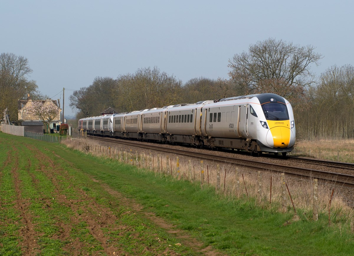 800001 leads 800002 through Uffington, near Peterborough, on April 11, with the 0836 Old Dalby-North Pole. PETER FOSTER.