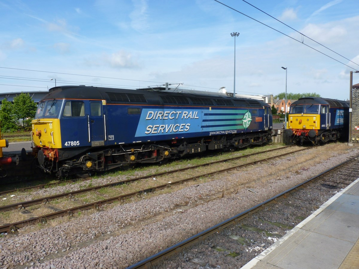 Direct Rail Services 47805 John Scott 12.5.45-22.6.12 and 47813 Solent stand at Norwich on June 25. RICHARD CLINNICK.