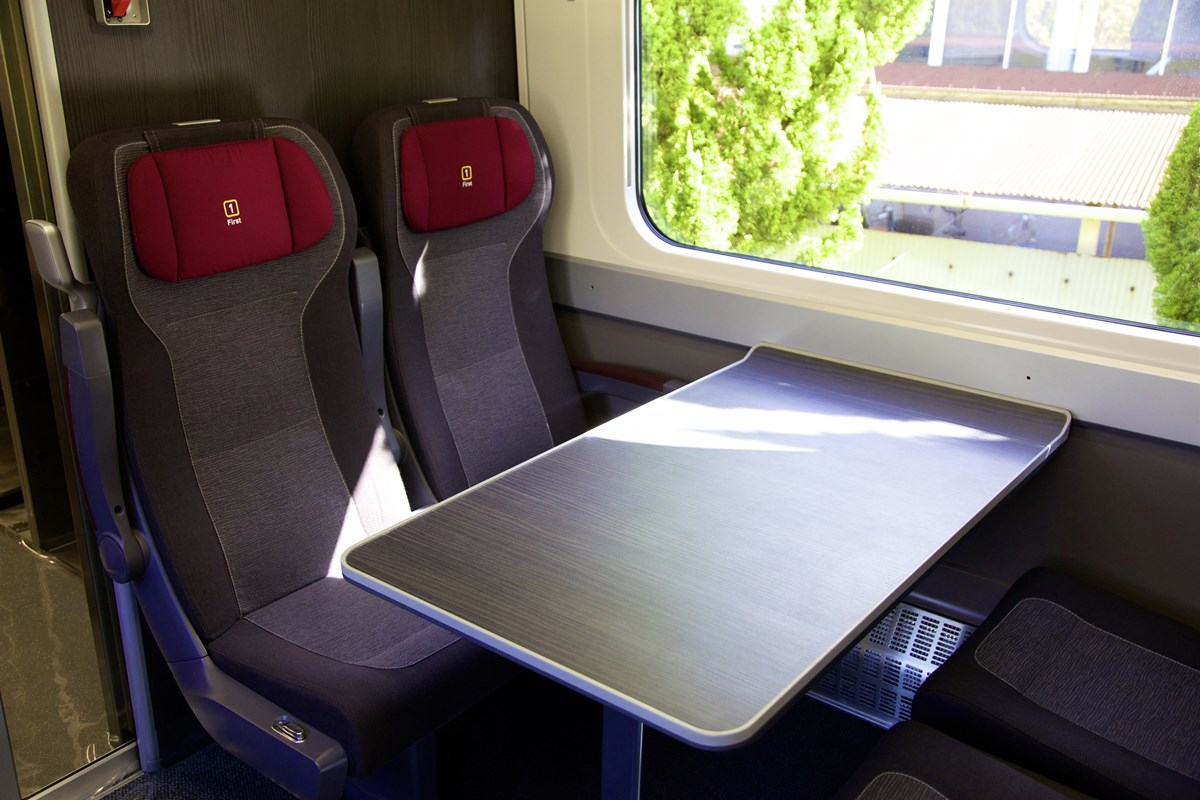 First class seats and table
