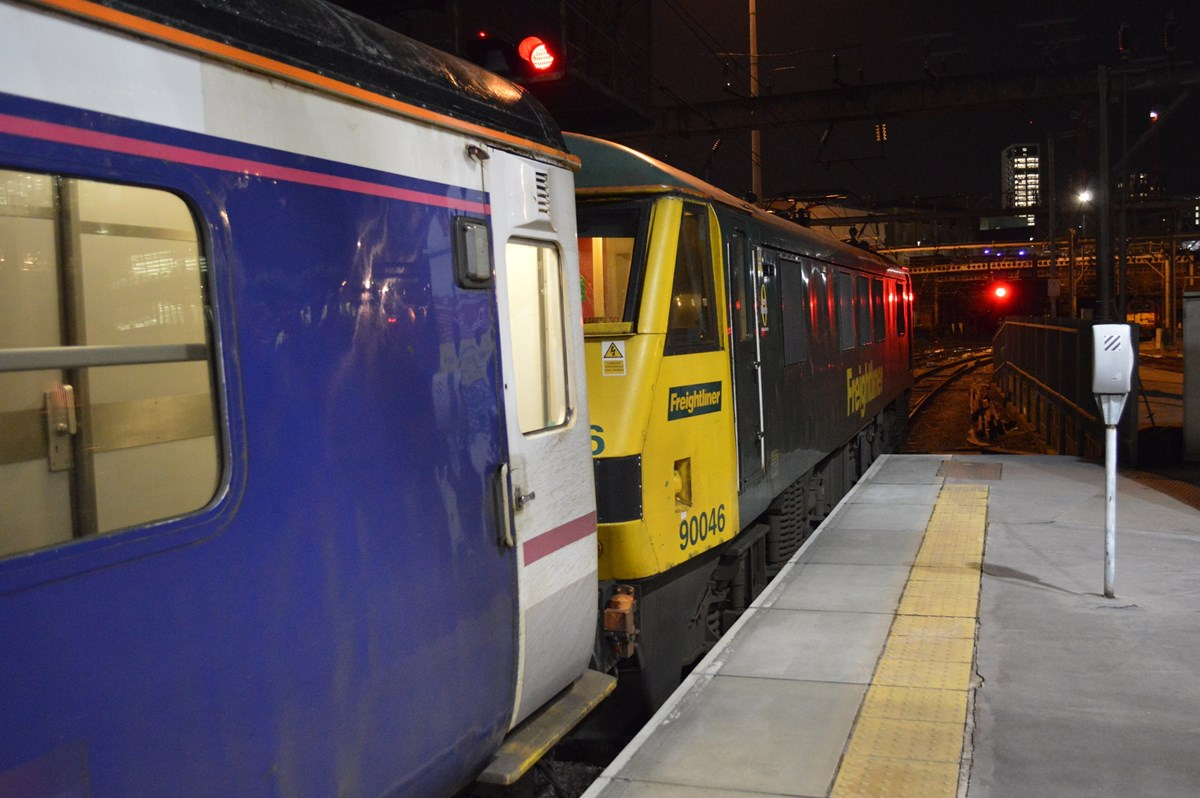 GB Railfreight hires Class 90s from Freightliner to cover for unavailable Class 92s on the Caledonian Sleeper. On January 18, 90046 waits at London King's Cross with the 2106 to Aberdeen/Fort William/Inverness. RICHARD CLINNICK.