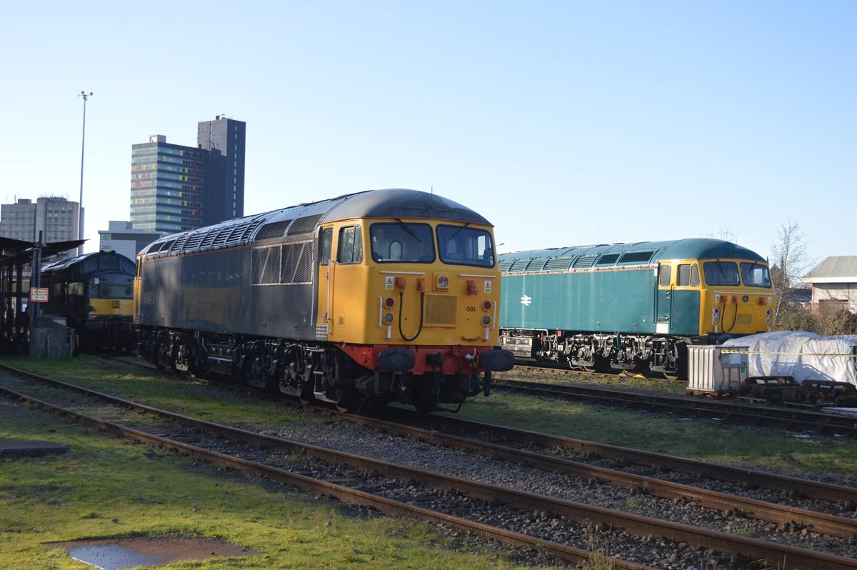 UKRL 37905 (left), 56081 and the Class 56 Group's 56006 stand at Leicester on January 15. RICHARD CLINNICK.