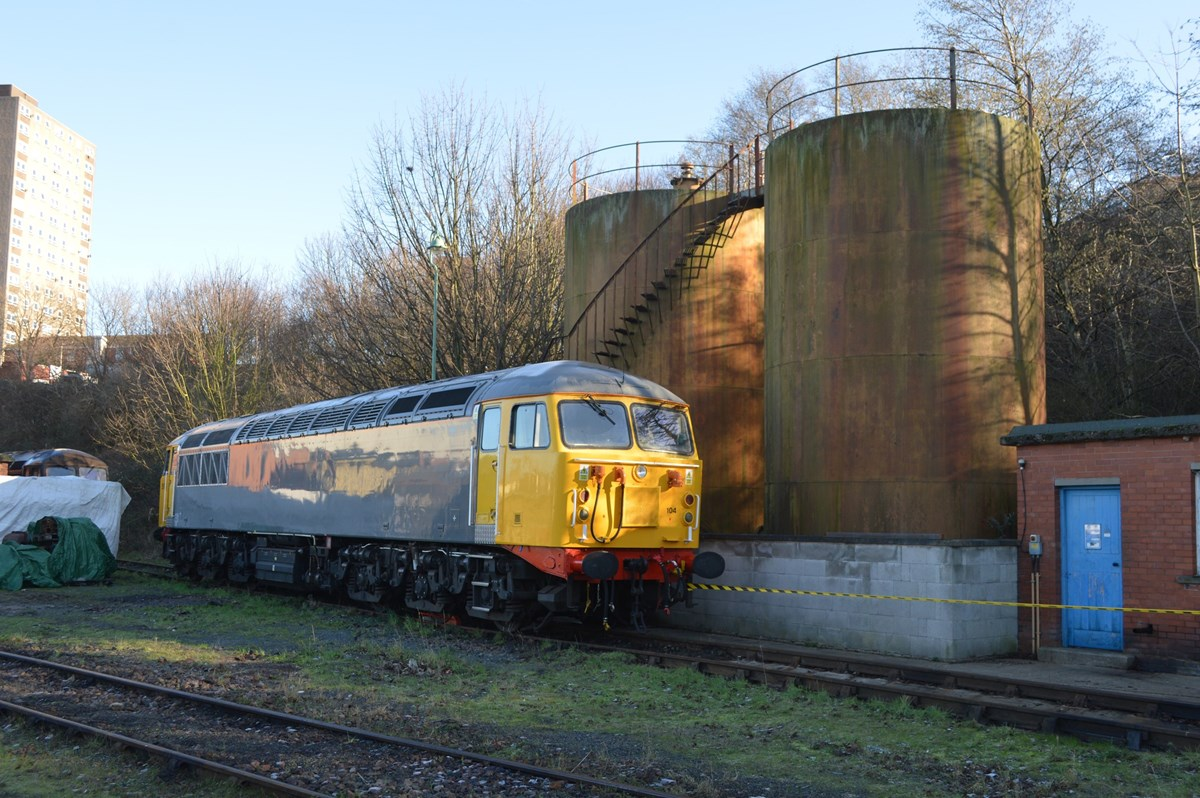 UK Rail Leasing 56104 stands next to fuel tanks at Leicester on January 15. RICHARD CLINNICK.