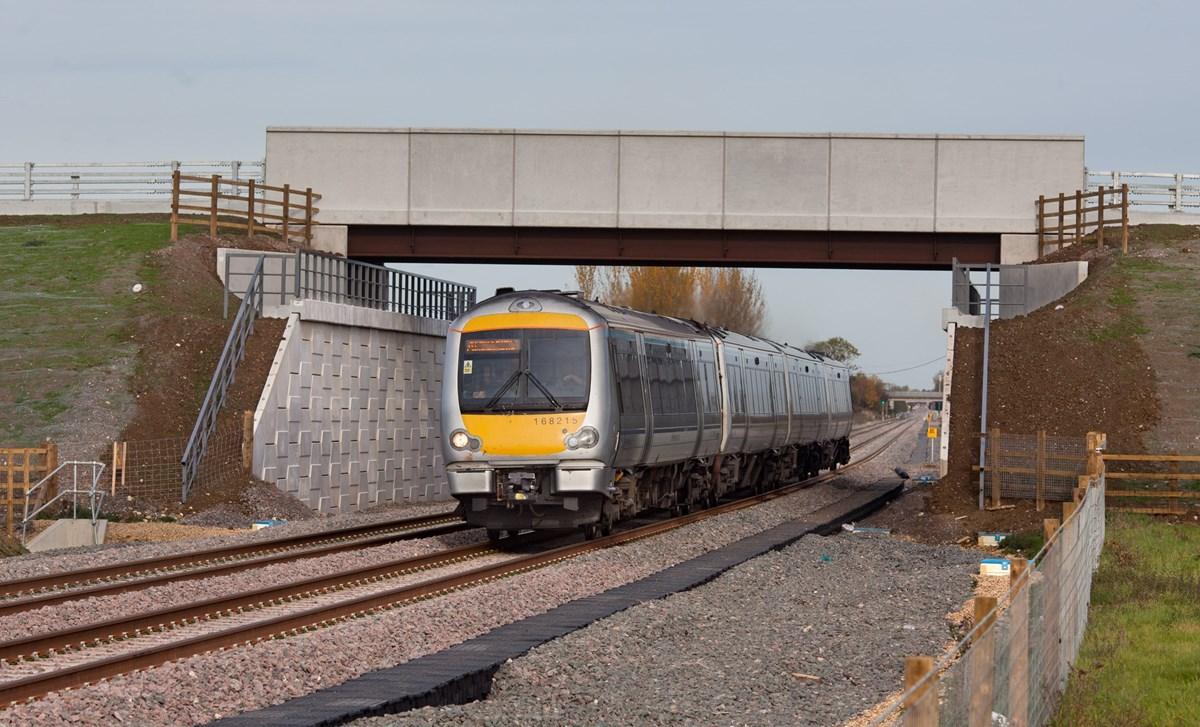 Chiltern Railways 168215 passes Oddington, with the 1235 London Marylebone-Oxford Parkway on October 25.