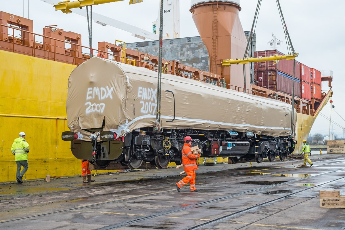 GBRf 66779, the final Class 66 to be built for the UK, is about to touch down on British soil.