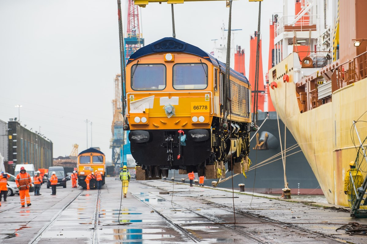 GBRf 66778 is lowered onto UK soil at Newport Docks.