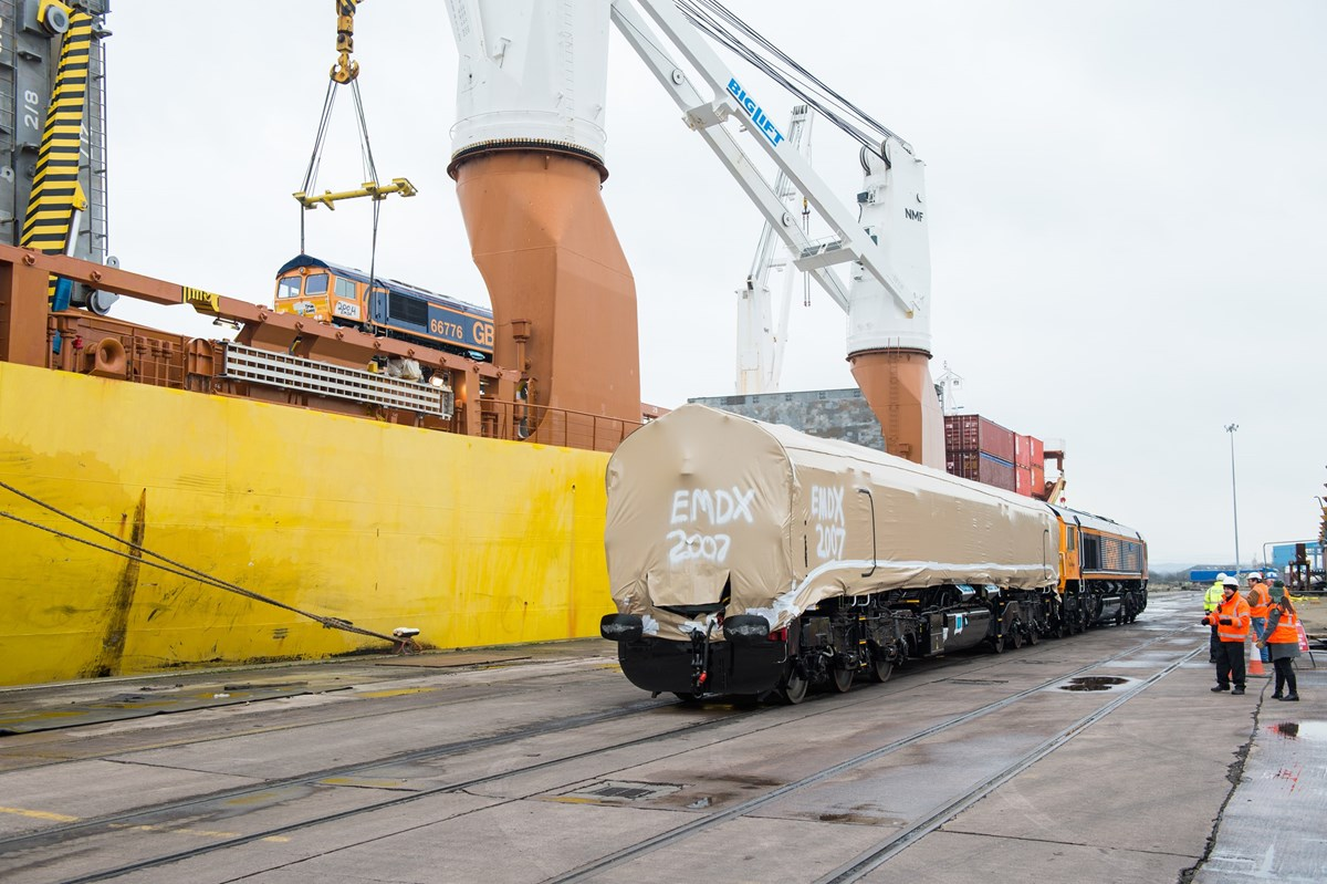 The final ever brand new Class 66 to be delivered to the UK from America, GBRf 66779, is shunted on the dockside at Newport on February 13.