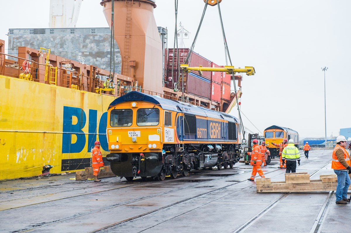 GBRf 66777 at Newport Docks. Even though this was not the final Class 66 to be built, this was the final '66' to be unloaded in the UK.
