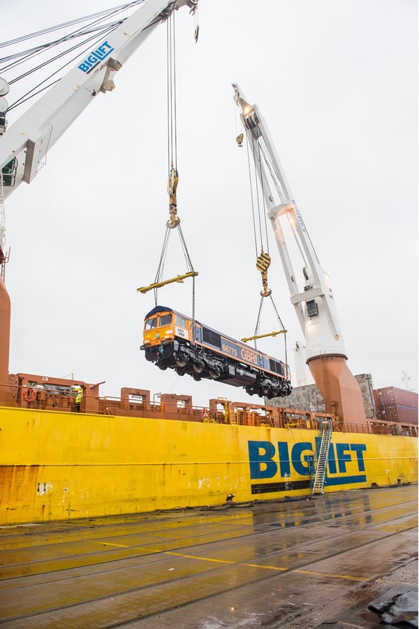 GBRf 66775 is lifted from the Happy Dragon at Newport Docks.
