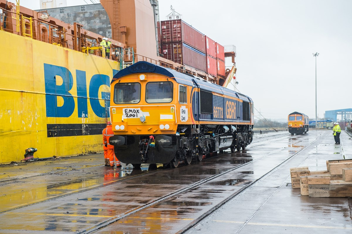 GBRf 66773 has just been unloaded at Newport Docks. In the background is 66708.
