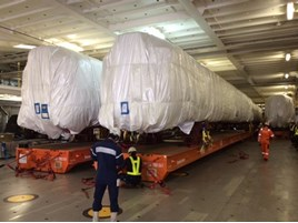 Class 385 body shells on their way to the UK. HITACHI.