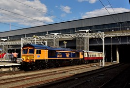 Waiting to leave London Euston on August 13, with the final leg of 'The Absent Charter' from Newcastle to Basingstoke, GB Railfreight 66723 Chinook displays its new livery and embellishments. ALEXANDER CROMARTY.