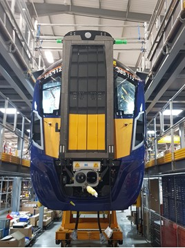 ScotRail 385112 under construction at Newton Aycliffe. JAMES GARTHWAITE.