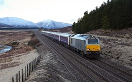 67012 hauls a London Euston-Inverness sleeper through Dalwhinnie on April 30. PHIL METCALFE.