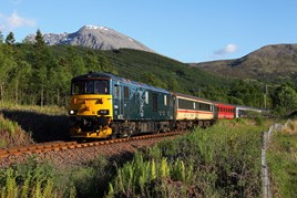 Caledonian Sleeper 73966 passes Torlundy, near Fort William, on May 31, with a London-bound sleeper. PHIL METCALFE.