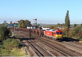 DB Schenker 60019 on empty steel wagons at Barnetby East. TOM MCATEE.