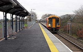 Cranbrook station (in East Devon) finally opened on December 13 2015. On the first day, South West Trains 159105 arrives forming the 1225 Exeter St Davids to Waterloo service.  DAVID MITCHELL.