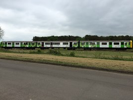 The prototype D-Train runs as a three-car unit at Long Marston on May 25. VIVARAIL.