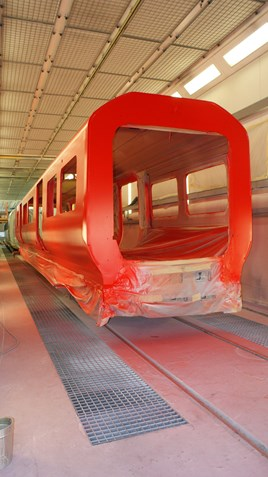 A completed Class 707 bodyshell at Siemens' Krefeld factory. SIEMENS.