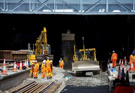 Track laying at Glasgow Queen Street on June 3. NETWORK RAIL.