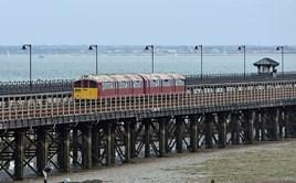 Class 483, 483004, heads along Ryde Pier forming 20918 Shanklin-Ryde Pier Head on July 15. CHRIS WILSON.