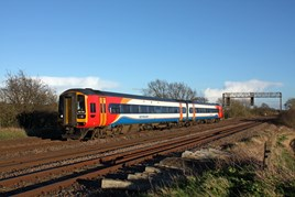 East Midlands Trains 158785 at Cossington on the Midland Main Line. PAUL BIGGS.
