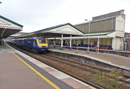 First Great Western 43168 stands at Exeter St Davids on October 3 2014. RICHARD CLINNICK.