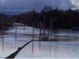 Flooding north of Carlisle. NETWORK RAIL.