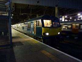 GB Railfreight 92018 at London Euston on June 24, with the 2350 to Glasgow Central/Edinburgh Waverley. RICHARD CLINNICK.