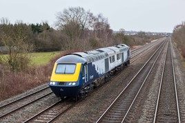 The first refurbished ScotRail HST powers cars, 43033 and 43148, pass Trowell Junction on February 13. STEVE DONALD.