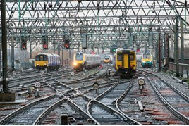Five trains from four operators at Manchester Piccadilly. JACK BOSKETT/RAIL REVIEW.
