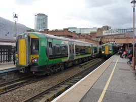 London Midland Class 172s at Birmingham Moor Street on March 26 2015. RICHARD CLINNICK.