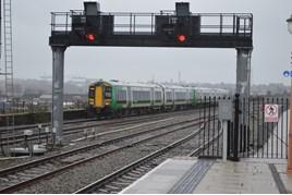 London Midland 172218 leaves Birmingham Moor Street on December 30 2015. RICHARD CLINNICK.