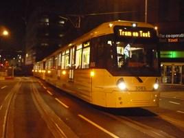 The first Metrolink tram on test in Exchange Square on November 1. TFGM.