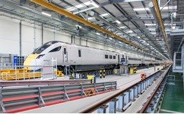 Safely inside its home, 800013 stands inside Hitachi Rail Europe's Stoke Gifford depot, near Bristol, on June 6. Post-Brexit, the rail industry will be an economic anchor the Rail Delivery Group Chairman Chris Burchell says, with 24,000 jobs to be created in two years. Many are in engineering at facilites such as this new depot. JOHN STRETTON.