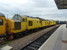 Network Rail 97302 and 97301 at Derby on June 26. RICHARD CLINNICK.