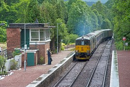 A pair of Caledonian Sleeper Class 73/9s enter Spean Bridge on July 1. PETER FOSTER.