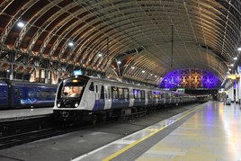 TfL Rail 345020 arrives at London Paddington on February 23, with a test train from Maidenhead. It is one of the first nine-car Class 345s delivered, and is based at Old Oak Common for testing. EIKI SEKINE.