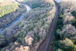 An aerial view of the major landslip at Eden Brows, which looks set to keep the S&C severed well into 2017 while Network Rail carries out extensive repairs. NETWORK RAIL.