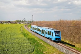 Alstom 654602 is pictured at Velim test track in the Czech Republic during the first day of test runs on April 25. The two-car Coradia iLint is scheduled to go into passenger service in Germany in January 2018 as the world's first hydrogen fuel cell-powered train. ENRICO SCHREURS.