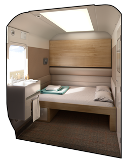 Interior of the Caledonian Sleeper Mk 5 double berth. CALEDONIAN SLEEPER.
