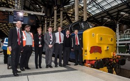 Organisers and staff with the 'EACH Express' charter at London Liverpool Street on April 30. AL PULFORD.