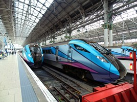 An artist's impression of First TransPennine Express AT300s at Manchester Piccadilly. FTPE.