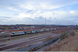 Looking north across Toton Yard and depot on January 16, towards the A52 road bridge in the distance. The sidings will be lifted and depot moved to make way for the new East Midlands Hub station. PAUL ROBERTSON.