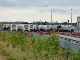Seven Intercity Express Programme trains and a Class 385 EMU at Newton Aycliffe on August 6. JAMES GARTHWAITE.