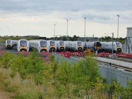 Seven Intercity Express Programme trains and a Class 385 EMU at Newton Aycliffe on August 6. JAMES GARTHWAITE.