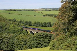 GWR 57605 crosses Coombe Viaduct. CRAIG MUNDAY.