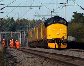Colas Rail 37421 on a Network Rail test train near Northampton. PETER FOSTER.