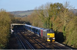 Rail Operations Group 37884, hired from Europhoenix, hauls 375620 and 375616 through Otford Junction on November 28, with the 0309 Derby Litchurch Lane-Ramsgate. Both '375s' had been refurbished by Bombardier. DAVID STAINES.