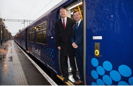 ScotRail Alliance Managing Director Phil Verster (left) and Scottish Transport Minister Derek Mackay at Milngavie on December 21. SCOTRAIL.