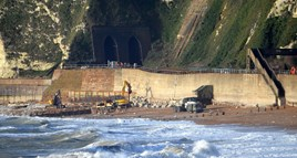 On December 31 2015, the clear slump and two main cracks in the sea wall conveying formation of the main Dover–London line outside Shakespeare Cliff Tunnel. DAVID STAINES.